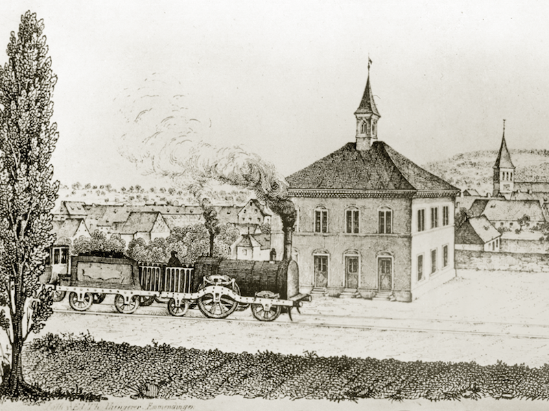 The train station with its front square, around 1850.